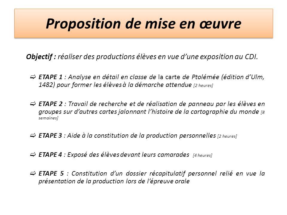 Proposition de mise en œuvre Objectif : réaliser des productions élèves en vue dune exposition au CDI. ETAPE 1 : Analyse en détail en classe de la car