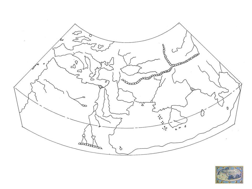 Mappemonde de Beatus de Liebana, IX e siècle Mappa Mundi dHereford, vers 1300 Différentes figures T dans O