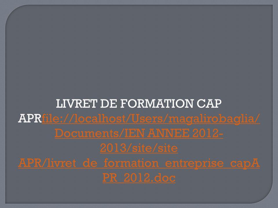 LIVRET DE FORMATION CAP APRfile://localhost/Users/magalirobaglia/ Documents/IEN ANNEE 2012- 2013/site/site APR/livret_de_formation_entreprise_capA PR_2012.docfile://localhost/Users/magalirobaglia/ Documents/IEN ANNEE 2012- 2013/site/site APR/livret_de_formation_entreprise_capA PR_2012.doc
