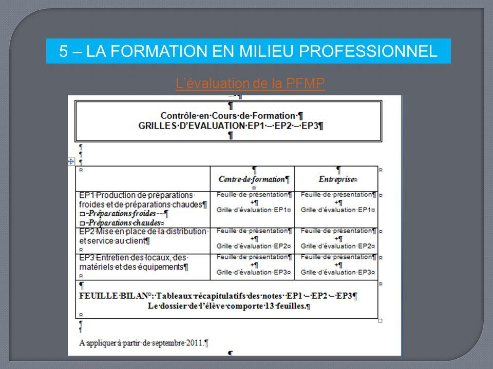 5 – LA FORMATION EN MILIEU PROFESSIONNEL Lévaluation de la PFMP
