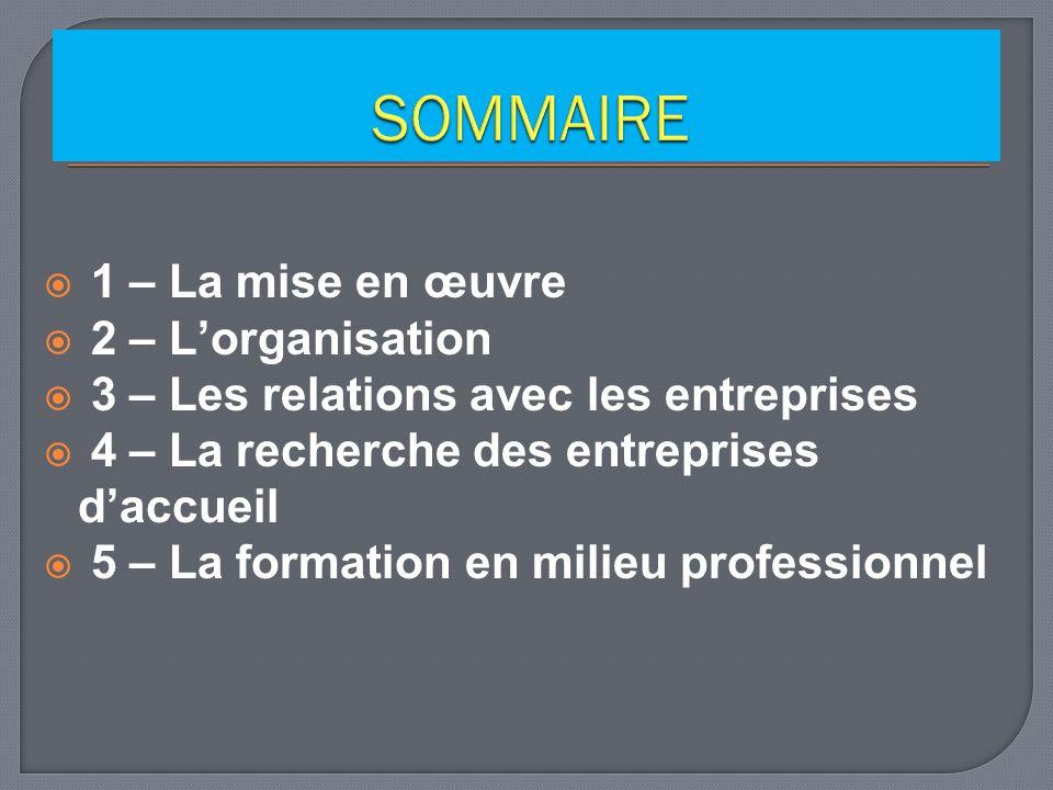 1 – La mise en œuvre 2 – Lorganisation 3 – Les relations avec les entreprises 4 – La recherche des entreprises daccueil 5 – La formation en milieu professionnel