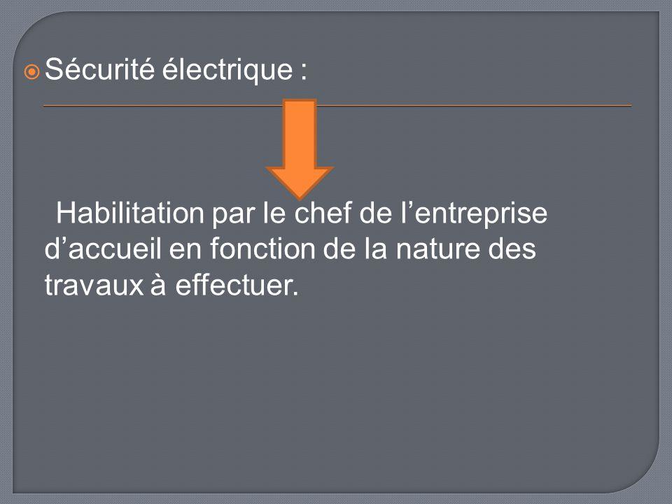 Sécurité électrique : Habilitation par le chef de lentreprise daccueil en fonction de la nature des travaux à effectuer.