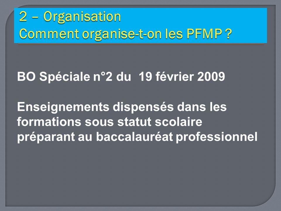 BO Spéciale n°2 du 19 février 2009 Enseignements dispensés dans les formations sous statut scolaire préparant au baccalauréat professionnel
