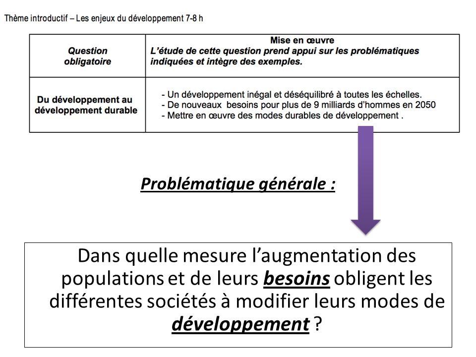 Aborder linégal développement à toutes les échelles à travers une approche réflexive sur les indicateurs statistiques Montrer la croissance des besoins et déconstruire les propos néomalthusiens Montrer la diversité des défis auxquelles les sociétés sont confrontées au présent et à lavenir à travers la grille de DD