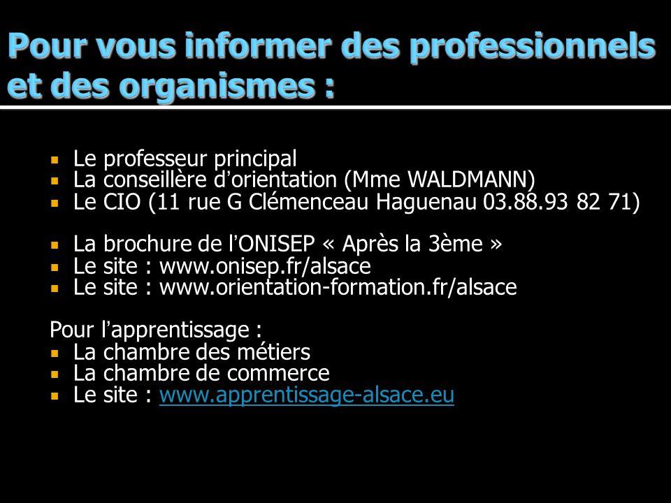 Le professeur principal La conseillère dorientation (Mme WALDMANN) Le CIO (11 rue G Clémenceau Haguenau 03.88.93 82 71) La brochure de lONISEP « Après la 3ème » Le site : www.onisep.fr/alsace Le site : www.orientation-formation.fr/alsace Pour lapprentissage : La chambre des métiers La chambre de commerce Le site : www.apprentissage-alsace.euwww.apprentissage-alsace.eu
