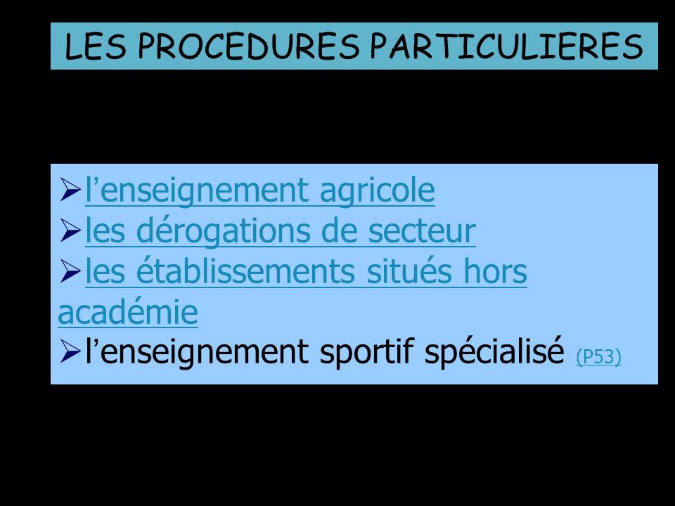lenseignement agricolelenseignement agricole les dérogations de secteur les établissements situés hors académieles établissements situés hors académie lenseignement sportif spécialisé (P53) (P53) LES PROCEDURES PARTICULIERES