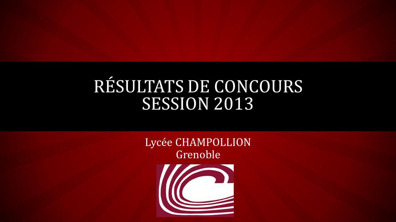Lycée CHAMPOLLION Grenoble RÉSULTATS DE CONCOURS SESSION 2013