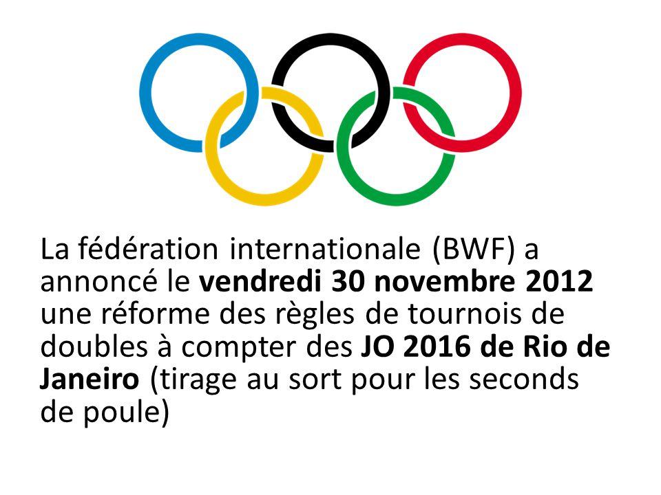 La fédération internationale (BWF) a annoncé le vendredi 30 novembre 2012 une réforme des règles de tournois de doubles à compter des JO 2016 de Rio d