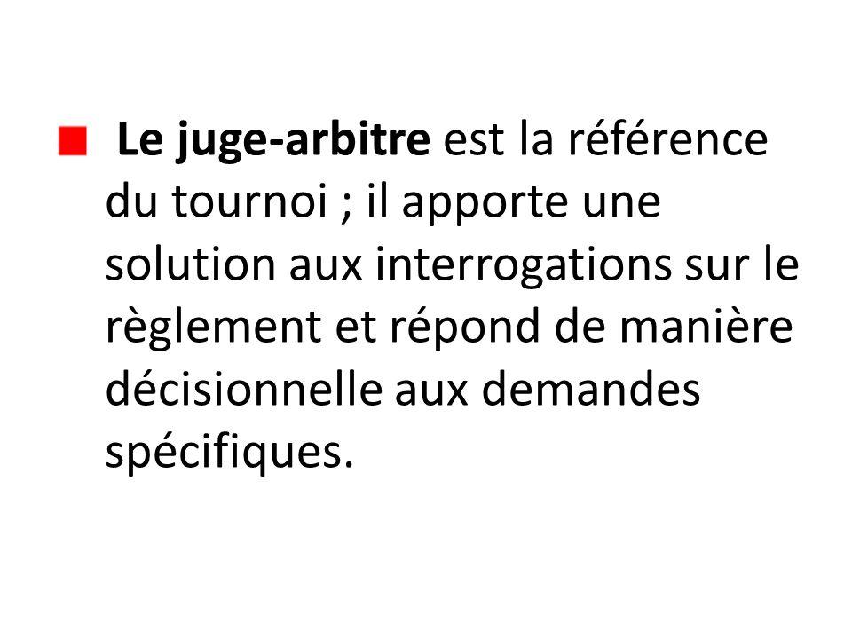 Le juge-arbitre est la référence du tournoi ; il apporte une solution aux interrogations sur le règlement et répond de manière décisionnelle aux deman