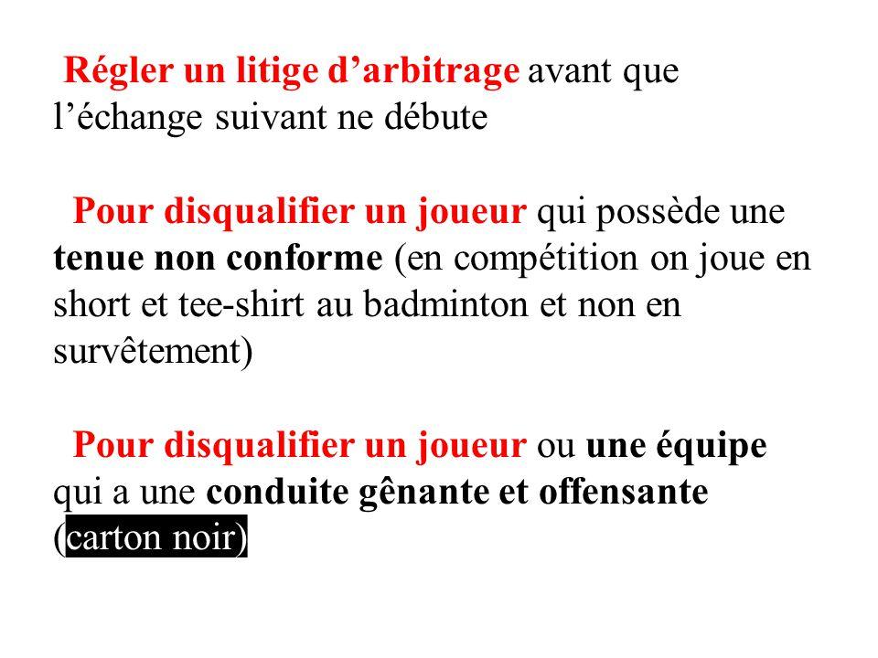 Régler un litige darbitrage avant que léchange suivant ne débute Pour disqualifier un joueur qui possède une tenue non conforme (en compétition on jou