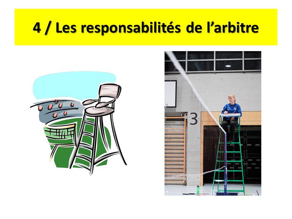 4 / Les responsabilités de larbitre