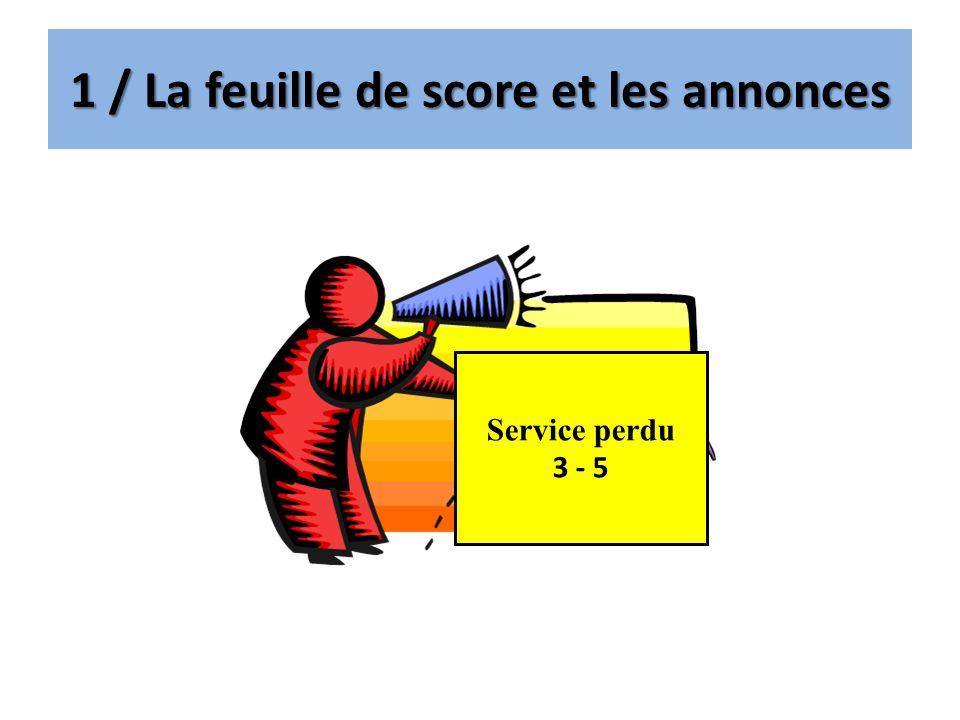 1 / La feuille de score et les annonces Service perdu 3 - 5