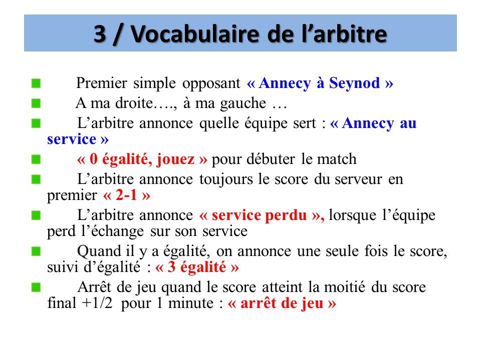 3 / Vocabulaire de larbitre Premier simple opposant « Annecy à Seynod » A ma droite…., à ma gauche … Larbitre annonce quelle équipe sert : « Annecy au