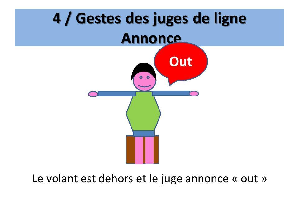 4 / Gestes des juges de ligne Annonce Le volant est dehors et le juge annonce « out » Out
