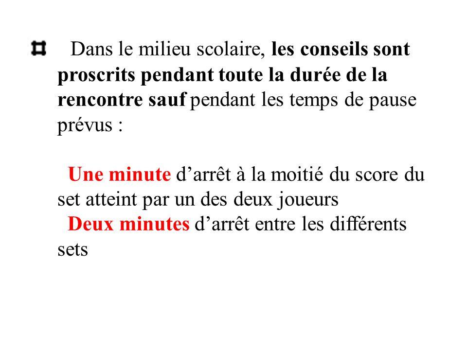 Dans le milieu scolaire, les conseils sont proscrits pendant toute la durée de la rencontre sauf pendant les temps de pause prévus : Une minute darrêt