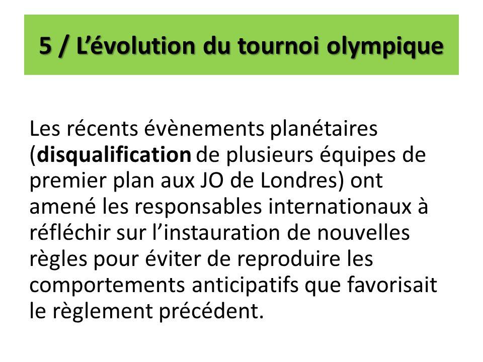 5 / Lévolution du tournoi olympique Les récents évènements planétaires (disqualification de plusieurs équipes de premier plan aux JO de Londres) ont a