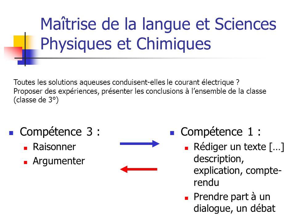 Maîtrise de la langue et Sciences Physiques et Chimiques Compétence 3 : Raisonner Argumenter Compétence 1 : Rédiger un texte […] description, explicat
