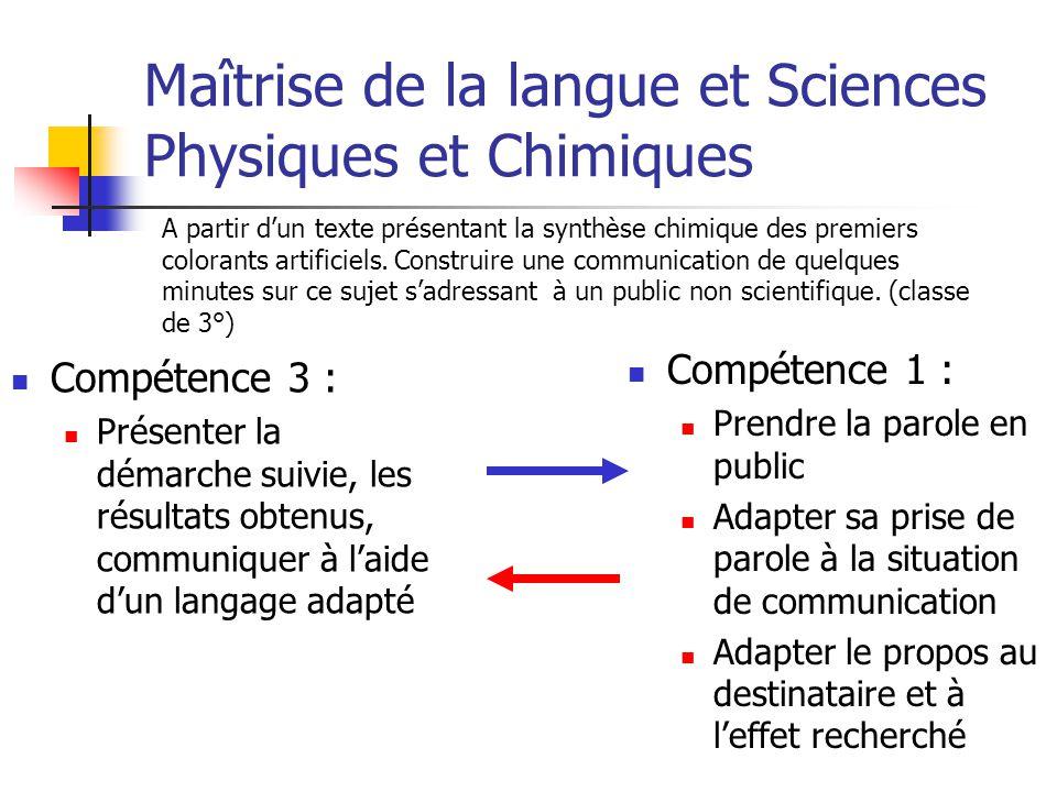 Maîtrise de la langue et Sciences Physiques et Chimiques Compétence 3 : Présenter la démarche suivie, les résultats obtenus, communiquer à laide dun l