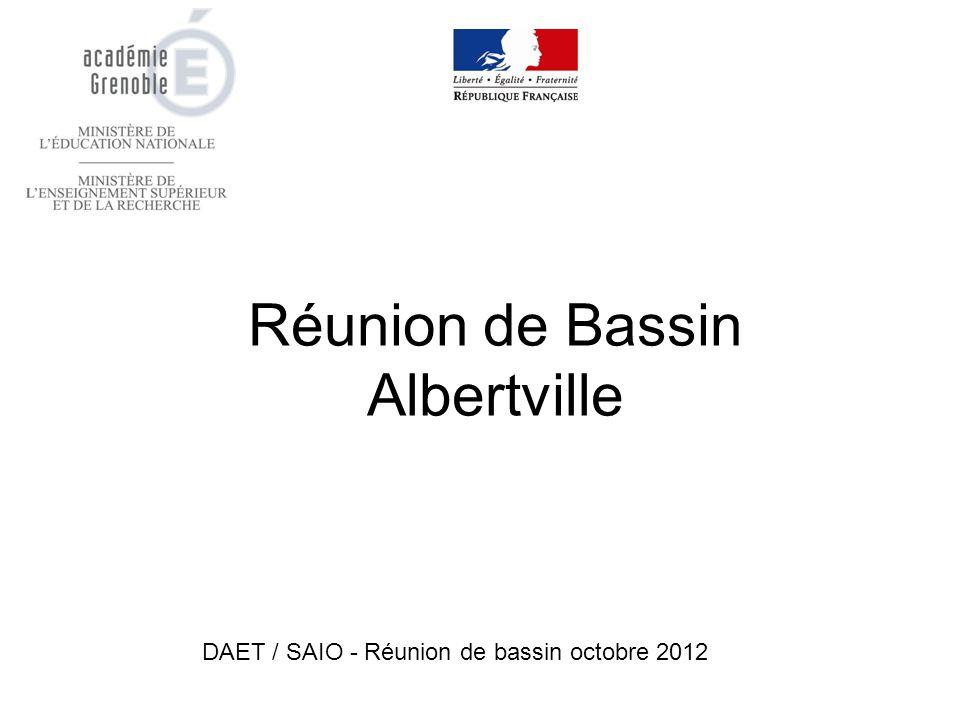 Réunion de Bassin Albertville DAET / SAIO - Réunion de bassin octobre 2012