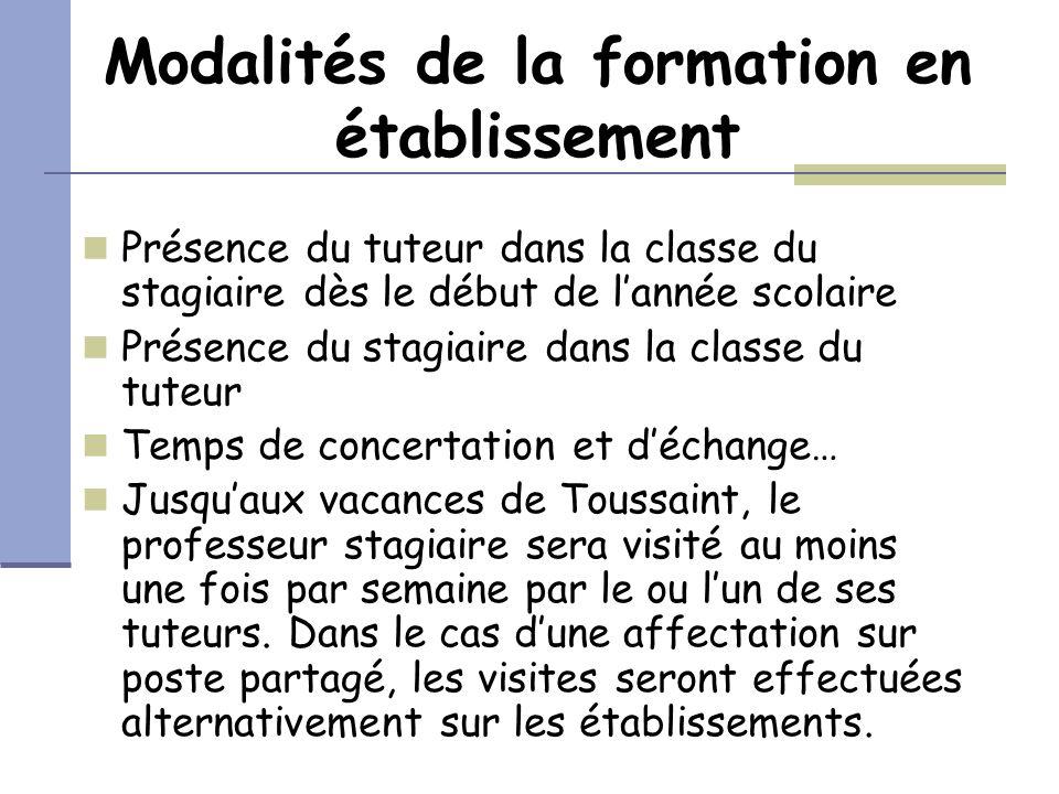 Modalités de la formation en établissement Présence du tuteur dans la classe du stagiaire dès le début de lannée scolaire Présence du stagiaire dans l