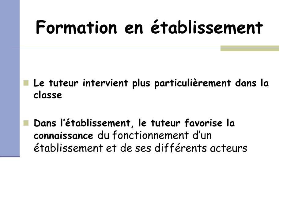 Formation en établissement Le tuteur intervient plus particulièrement dans la classe Dans létablissement, le tuteur favorise la connaissance du foncti