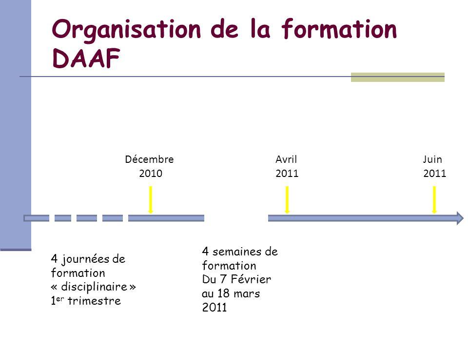Organisation de la formation DAAF Décembre 2010 Avril 2011 Juin 2011 4 journées de formation « disciplinaire » 1 er trimestre 4 semaines de formation