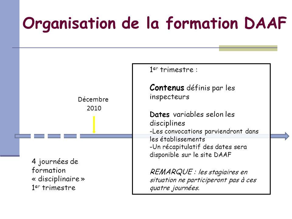 4 journées de formation « disciplinaire » 1 er trimestre Décembre 2010 Organisation de la formation DAAF 1 er trimestre : Contenus définis par les ins