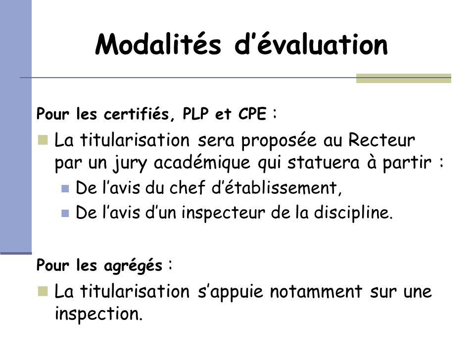 Modalités dévaluation Pour les certifiés, PLP et CPE : La titularisation sera proposée au Recteur par un jury académique qui statuera à partir : De la