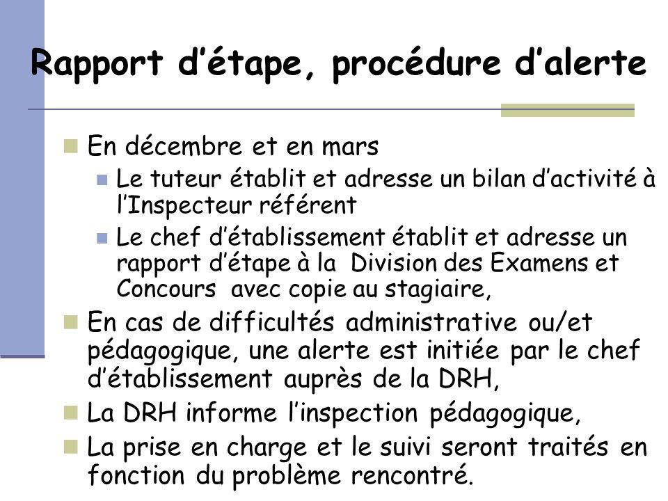 Rapport détape, procédure dalerte En décembre et en mars Le tuteur établit et adresse un bilan dactivité à lInspecteur référent Le chef détablissement