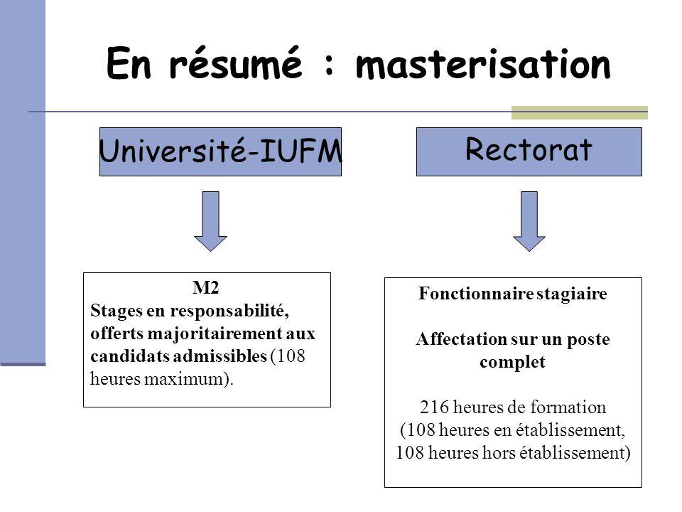 En résumé : masterisation Université-IUFM Rectorat Fonctionnaire stagiaire Affectation sur un poste complet 216 heures de formation (108 heures en éta