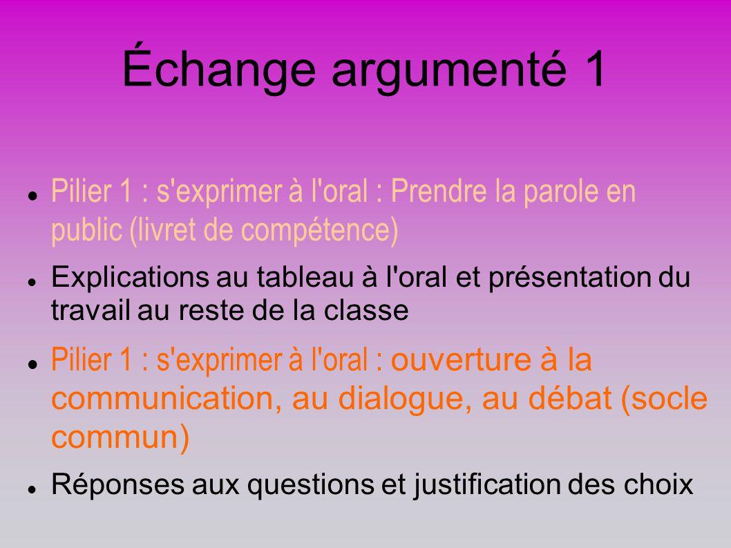 Échange argumenté 1 Pilier 1 : s'exprimer à l'oral : Prendre la parole en public (livret de compétence) Explications au tableau à l'oral et présentati