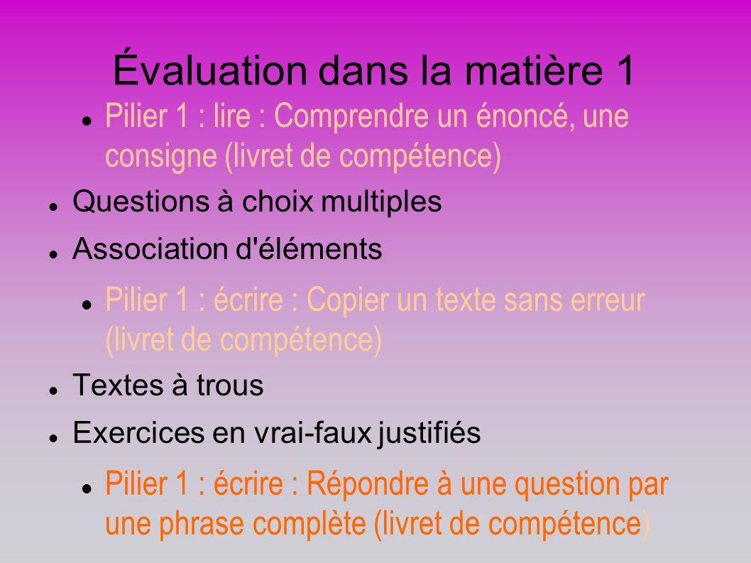 Évaluation dans la matière 1 Pilier 1 : lire : Comprendre un énoncé, une consigne (livret de compétence) Questions à choix multiples Association d'élé