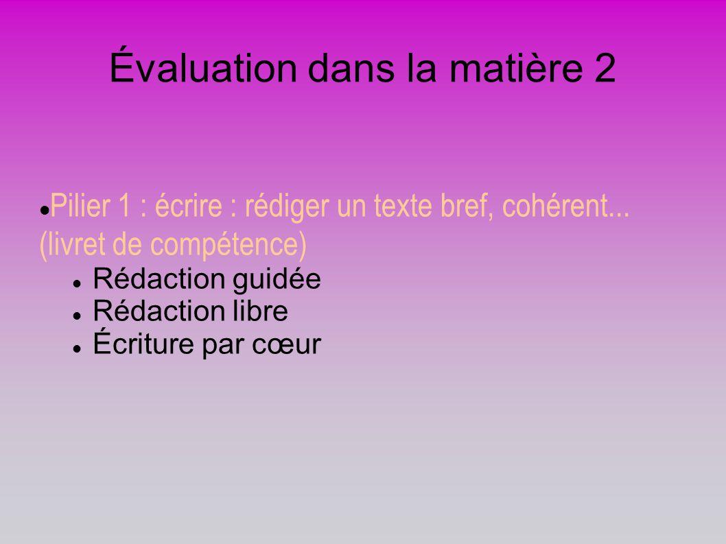 Évaluation dans la matière 2 Pilier 1 : écrire : rédiger un texte bref, cohérent... (livret de compétence) Rédaction guidée Rédaction libre Écriture p
