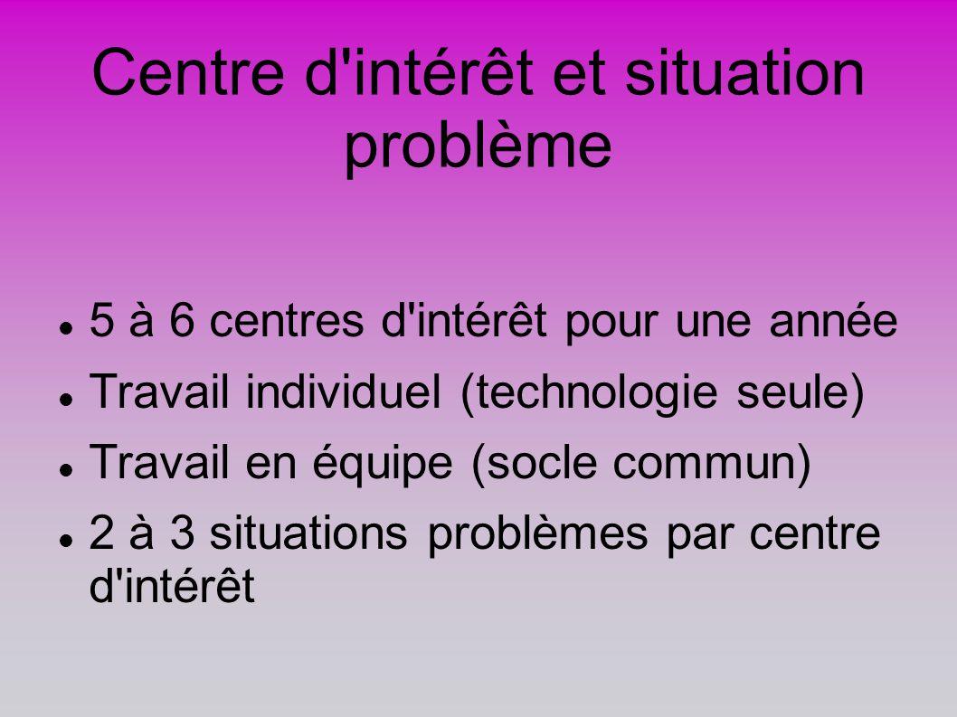Centre d'intérêt et situation problème 5 à 6 centres d'intérêt pour une année Travail individuel (technologie seule) Travail en équipe (socle commun)