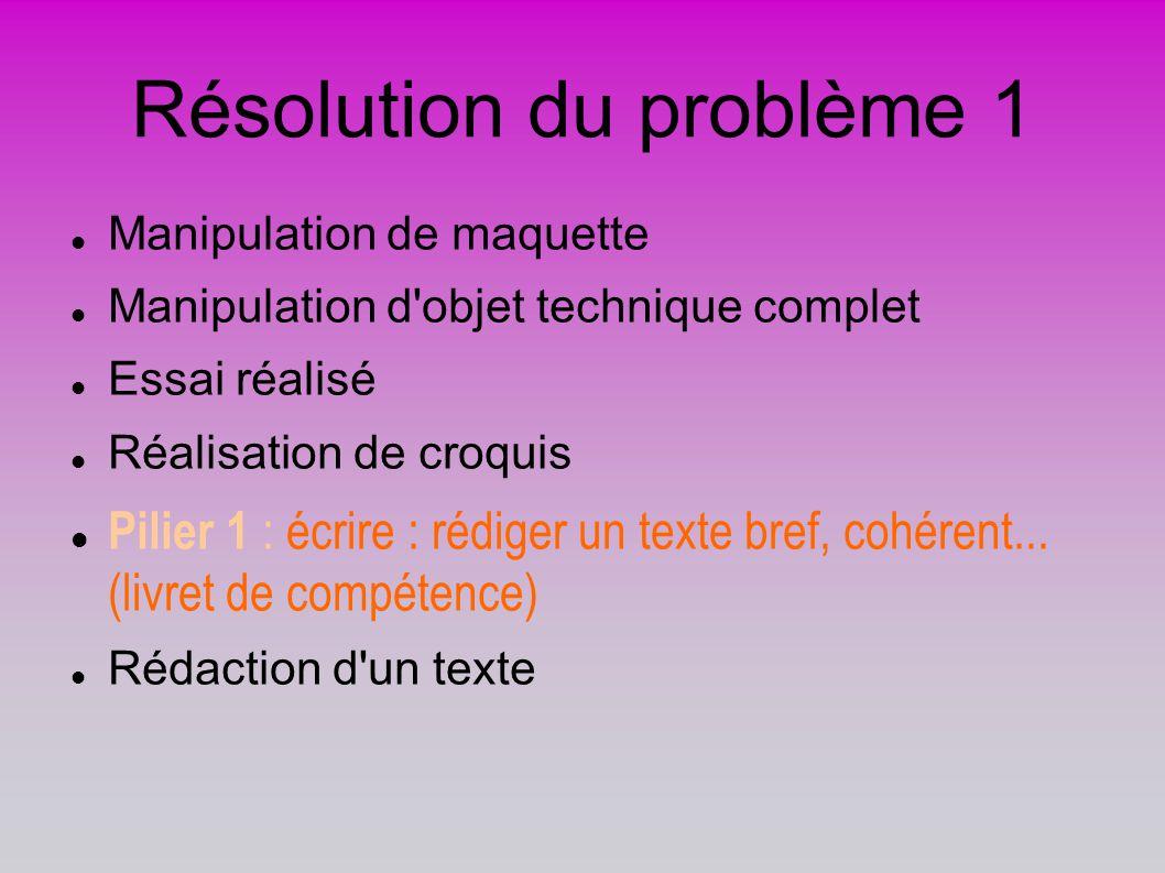 Résolution du problème 1 Manipulation de maquette Manipulation d'objet technique complet Essai réalisé Réalisation de croquis Pilier 1 : écrire : rédi
