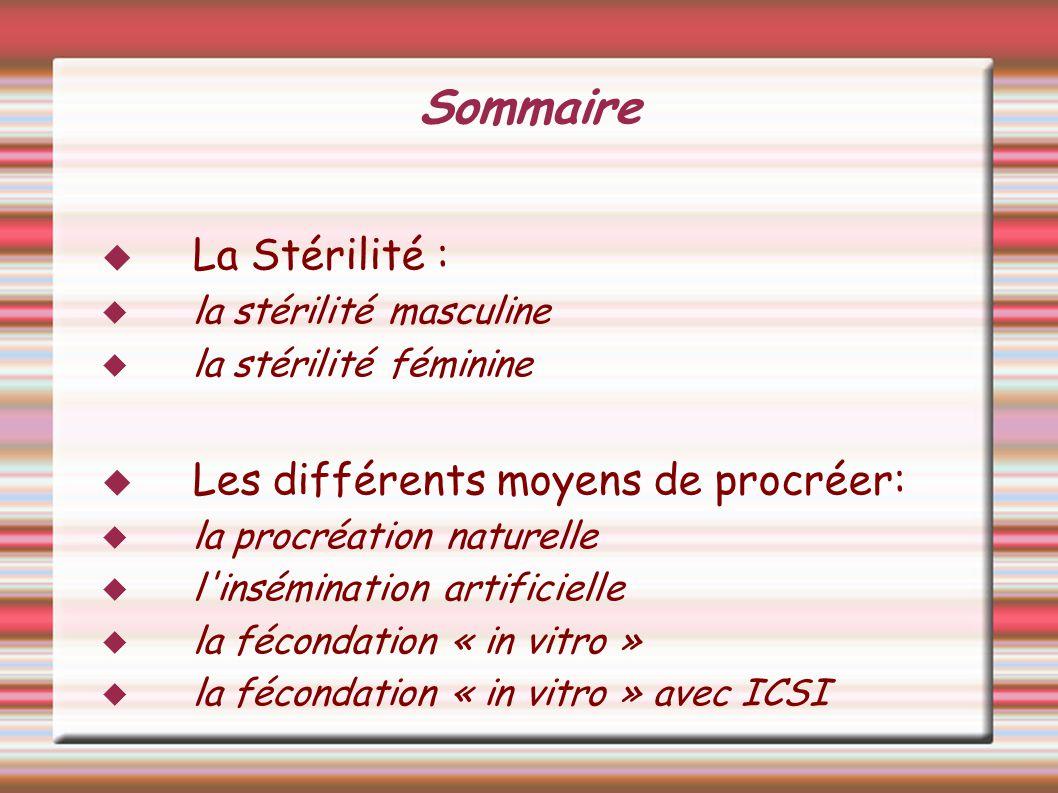 Sommaire La Stérilité : la stérilité masculine la stérilité féminine Les différents moyens de procréer: la procréation naturelle l'insémination artifi