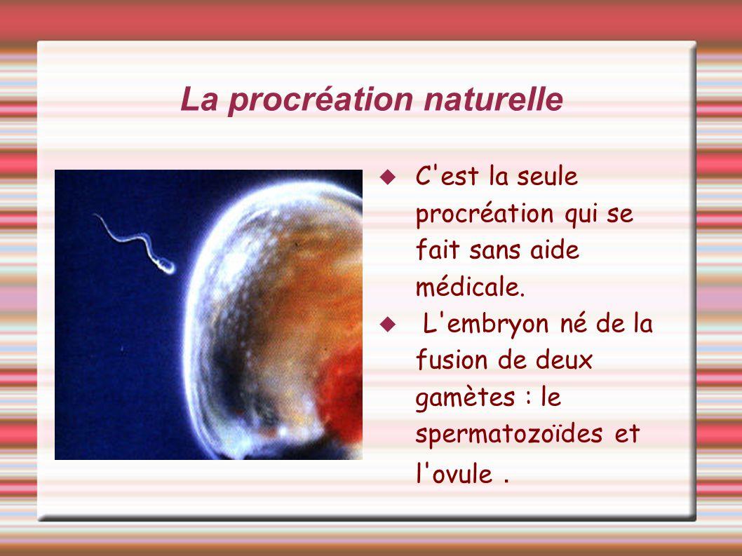 La procréation naturelle C'est la seule procréation qui se fait sans aide médicale. L'embryon né de la fusion de deux gamètes : le spermatozoïdes et l