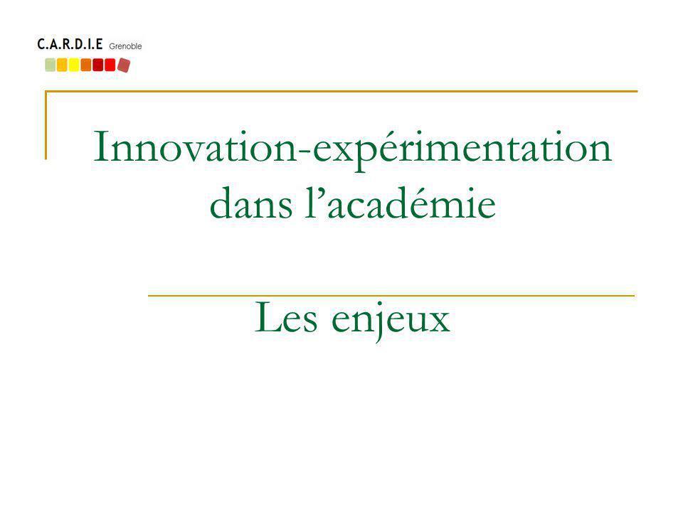 Innovation-expérimentation dans lacadémie Les enjeux