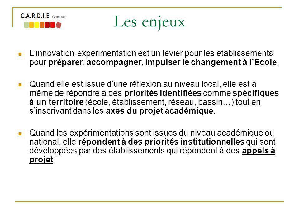 Les enjeux Linnovation-expérimentation est un levier pour les établissements pour préparer, accompagner, impulser le changement à lEcole.