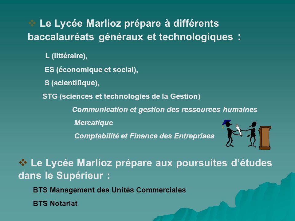 Le Lycée Marlioz prépare à différents baccalauréats généraux et technologiques : L (littéraire), ES (économique et social), S (scientifique), STG (sci