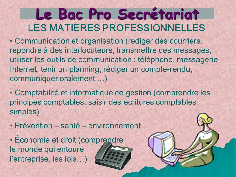 LES MATIERES PROFESSIONNELLES Communication et organisation (rédiger des courriers, répondre à des interlocuteurs, transmettre des messages, utiliser