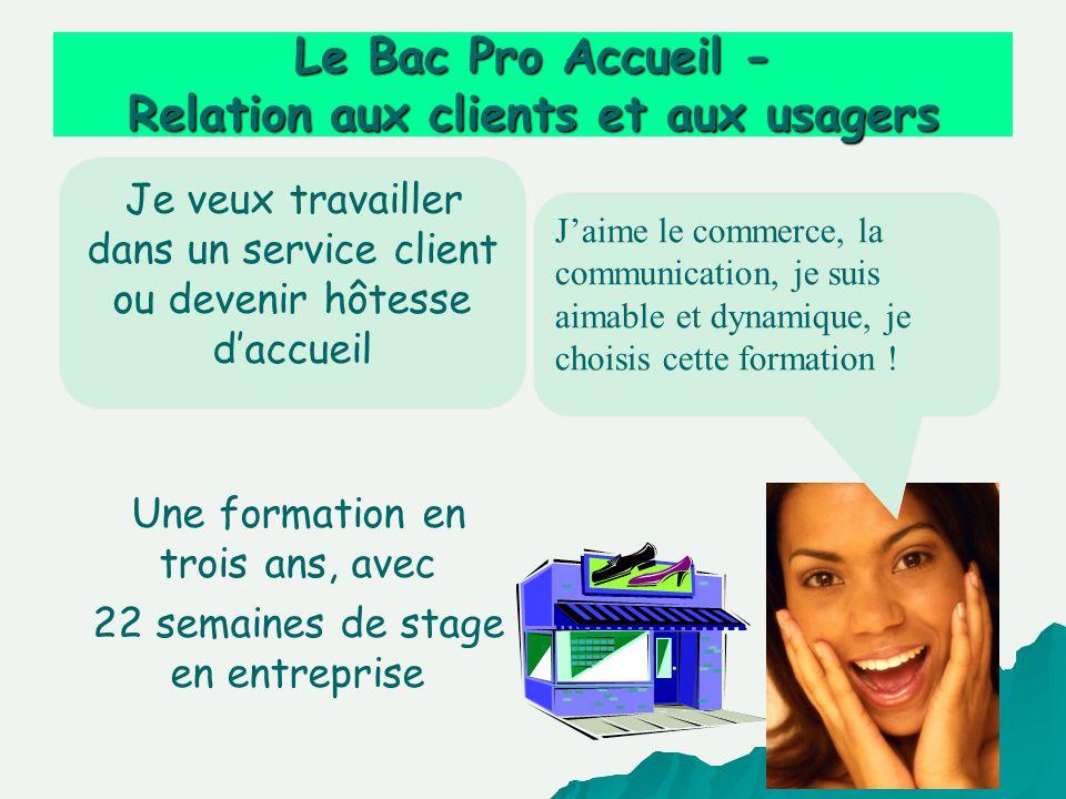 Je veux travailler dans un service client ou devenir hôtesse daccueil Le Bac Pro Accueil - Relation aux clients et aux usagers Une formation en trois