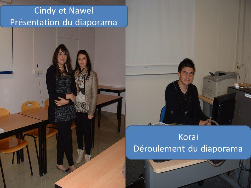 Cindy et Nawel Présentation du diaporama Korai Déroulement du diaporama