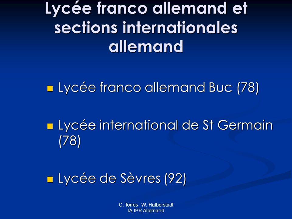 C. Torres W. Halberstadt IA IPR Allemand Lycée franco allemand et sections internationales allemand Lycée franco allemand Buc (78) Lycée franco allema