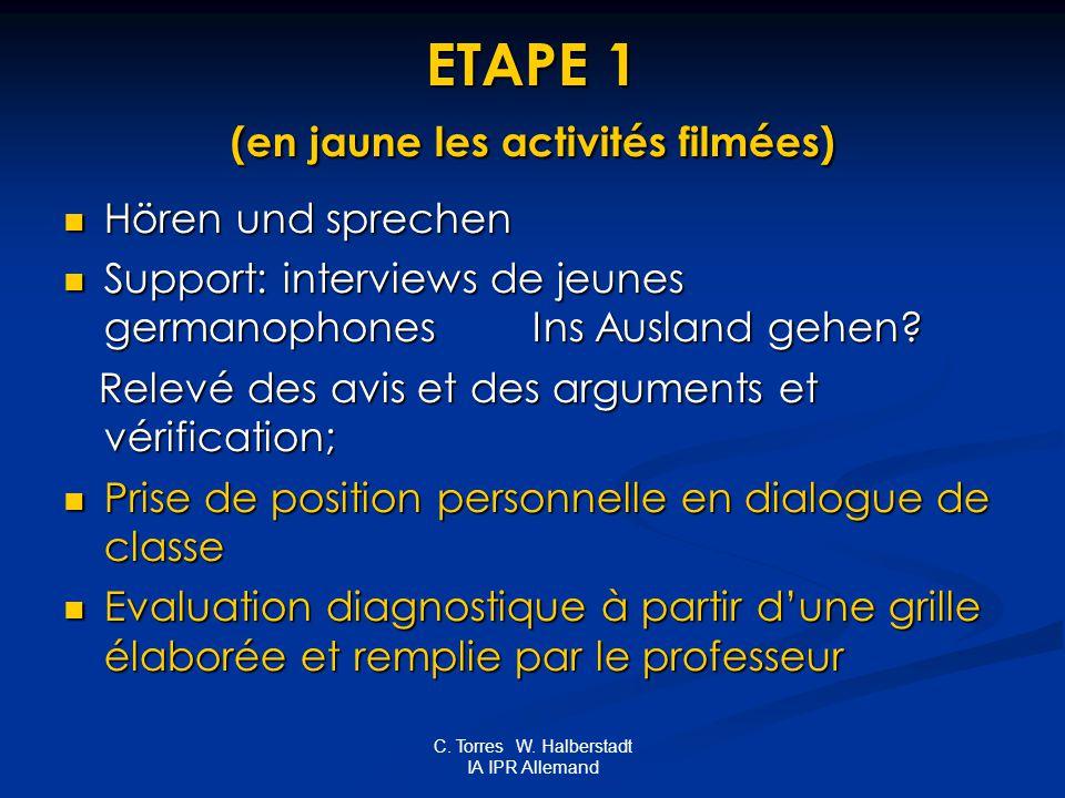 C. Torres W. Halberstadt IA IPR Allemand ETAPE 1 (en jaune les activités filmées) Hören und sprechen Hören und sprechen Support: interviews de jeunes