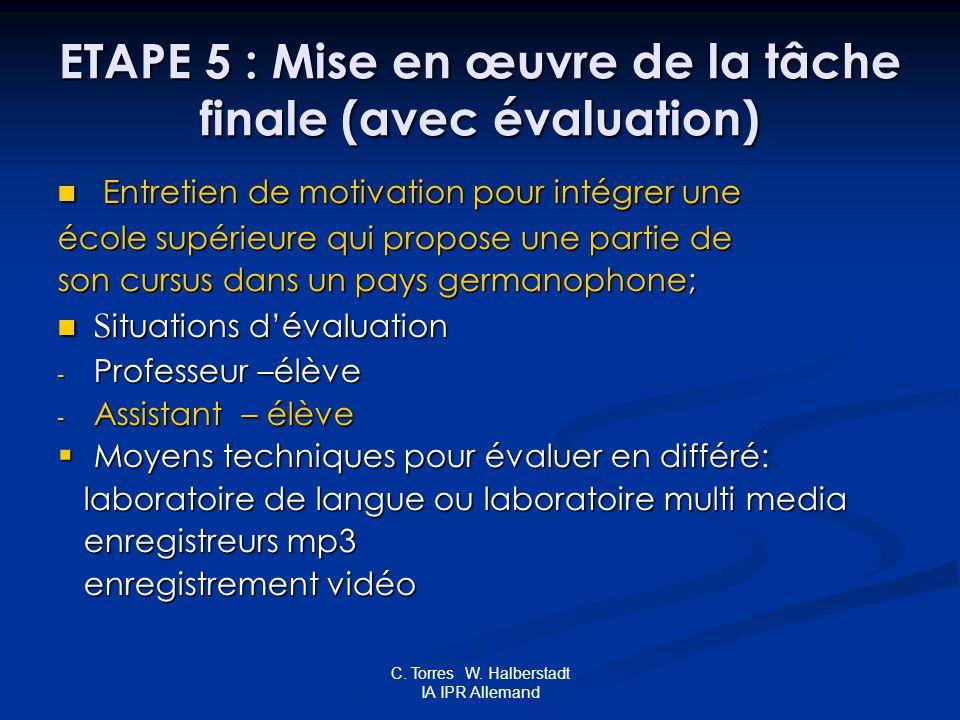 C. Torres W. Halberstadt IA IPR Allemand ETAPE 5 : Mise en œuvre de la tâche finale (avec évaluation) ETAPE 5 : Mise en œuvre de la tâche finale (avec