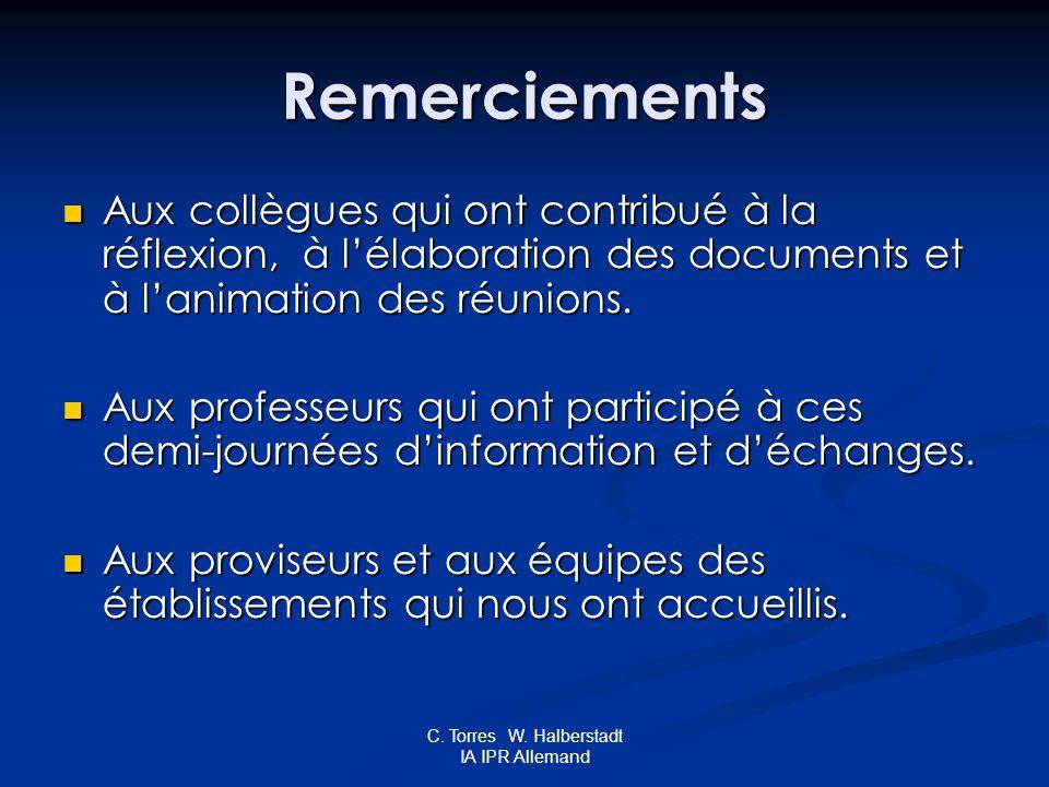 C. Torres W. Halberstadt IA IPR Allemand Remerciements Aux collègues qui ont contribué à la réflexion, à lélaboration des documents et à lanimation de