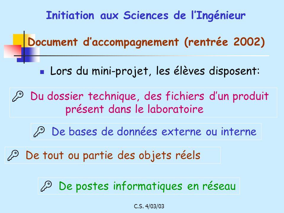 C.S. 4/03/03 Initiation aux Sciences de lIngénieur Document daccompagnement (rentrée 2002) Lors du mini-projet, les élèves disposent: Du dossier techn