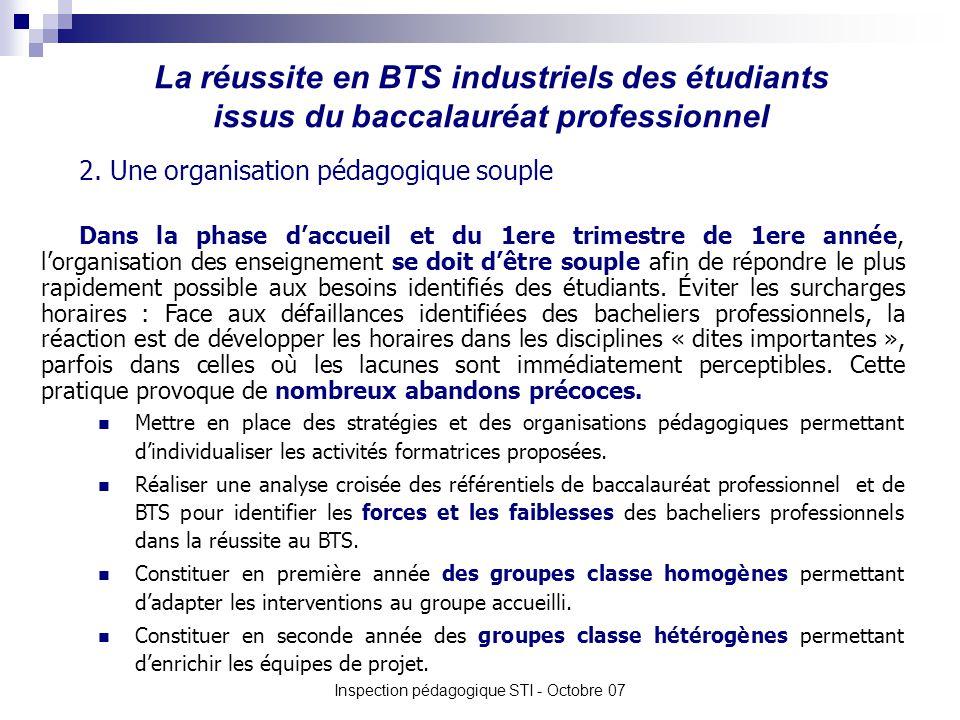 La réussite en BTS industriels des étudiants issus du baccalauréat professionnel Inspection pédagogique STI - Octobre 07 2. Une organisation pédagogiq