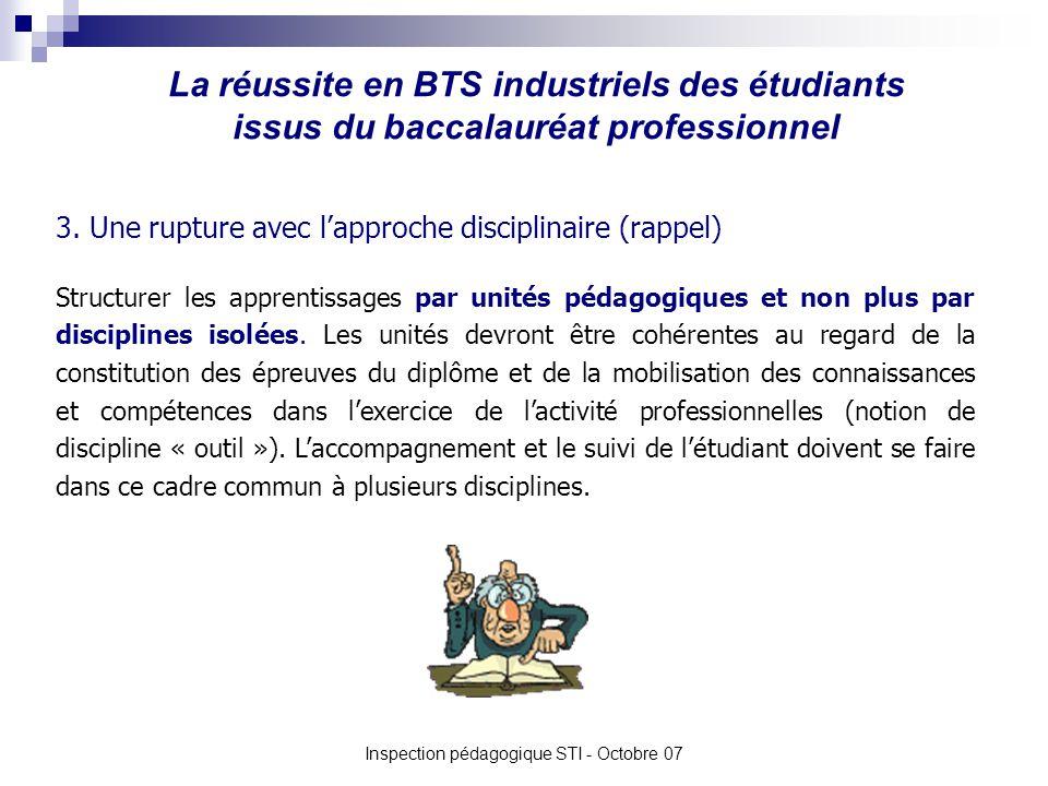 La réussite en BTS industriels des étudiants issus du baccalauréat professionnel Inspection pédagogique STI - Octobre 07 3. Une rupture avec lapproche